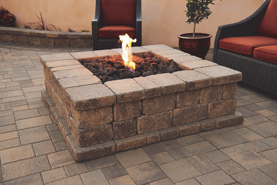 Angelus Pavers image of fire pit, and example of shadow and light affecting the color.